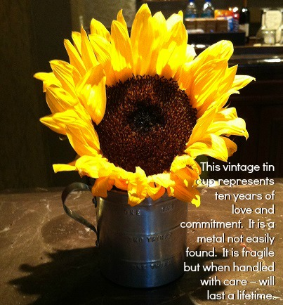 Vintage Tin Cup with Sunflower