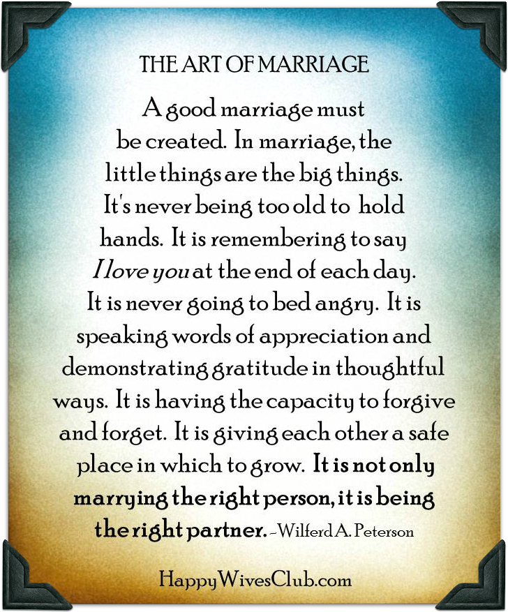 Happy Marriage Quotes: The Art Of Marriage