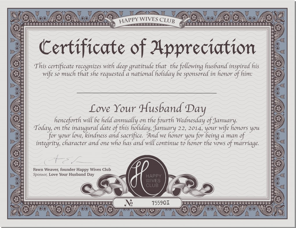 Love Quotes To Your Husband Certificateofappreciation  National Love Your Husband Day  Happy